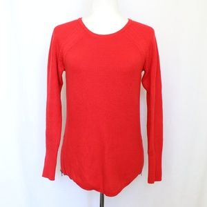 Athleta Red Side Zipper Pullover Sweater Small